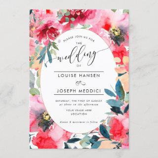 Watercolor Flowers Summer Roses, Red Ombre Wedding