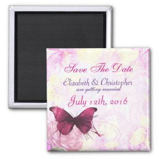 Watercolor Flowers with Butterfly Save The Date Magnet