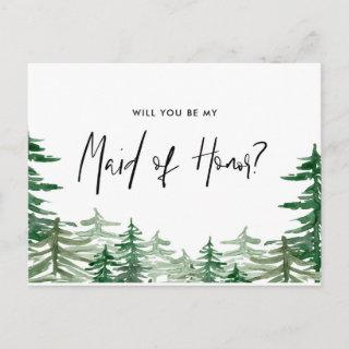 Watercolor Forest Will You Be My Maid of Honor Invitations Postcard