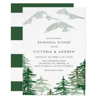 Watercolor Forest Winter Woodland Rehearsal Dinner Invitation