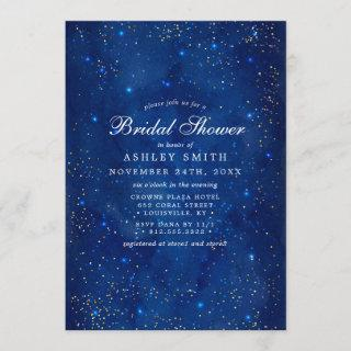 Watercolor Galaxy Cosmic Stars Bridal Shower Invitations