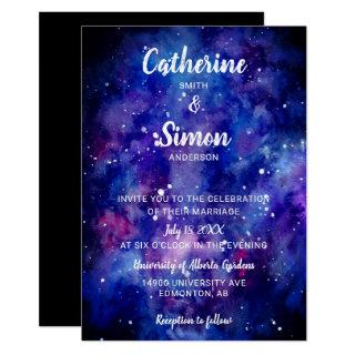 Watercolor Galaxy Starry Night Hand Lettering Invitation