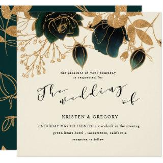 Watercolor Gold and Green Roses square | Wedding Invitations