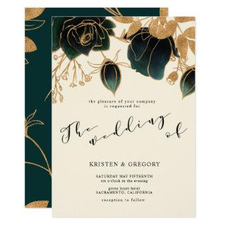 Watercolor Gold and Green Roses | Wedding Invitations