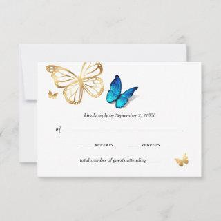 Watercolor Gold Navy Blue Butterfly Rustic Wedding RSVP Card