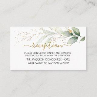 Watercolor green & gold foliage Reception Enclosure Card