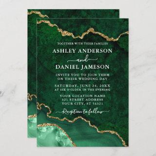 Watercolor Green Gold Marble Agate Geode Wedding Invitations