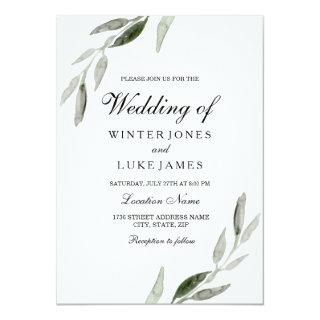 Watercolor Green Leaf Modern Matte Wedding Invitations