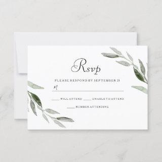 Watercolor Green Leaf Modern Wedding RSVP