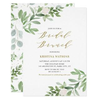 Watercolor Greenery and Flowers Bridal Brunch Invitations