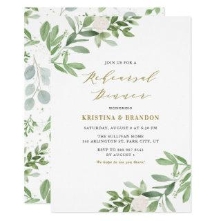 Watercolor Greenery and Flowers Rehearsal Dinner Invitation
