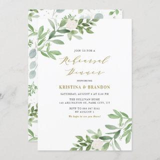 Watercolor Greenery and Flowers Rehearsal Dinner Invitations