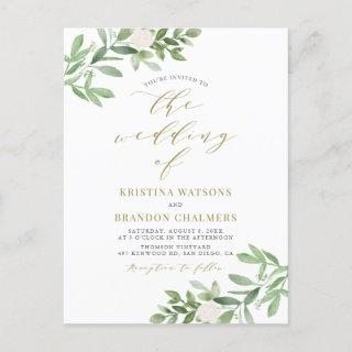 Watercolor Greenery and White Flowers Gold Wedding  Postcard