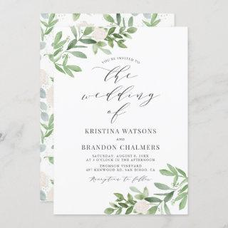 Watercolor Greenery and White Flowers Gray Wedding