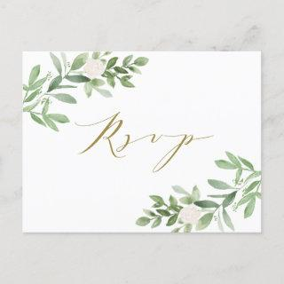 Watercolor Greenery and White Flowers RSVP  Postcard