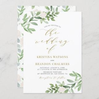 Watercolor Greenery and White Flowers Wedding