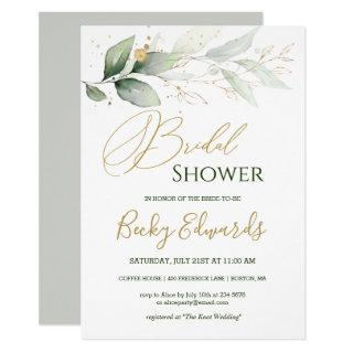 Watercolor Greenery/gold Bridal Shower Invitation