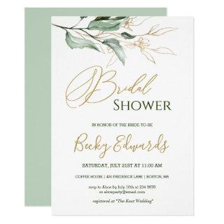 Watercolor Greenery/gold Bridal Shower Invitations