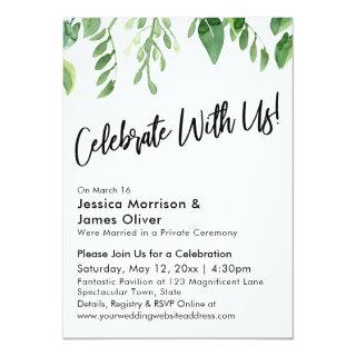 Watercolor Greenery Handwriting Celebrate With Us Invitations