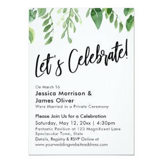 Watercolor Greenery & Handwriting, Let's Celebrate Invitations