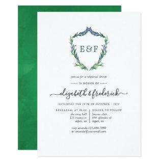 Watercolor Greenery Laurel Crest Rehearsal Dinner Invitation