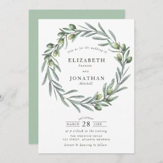 Watercolor greenery olive wreath wedding Invitations