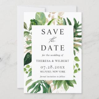 Watercolor Greenery Tropical Palm Leaves Wedding Save The Date
