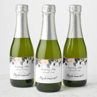 Watercolor Illustrated Fall Bridesmaid Proposal Champagne Label