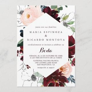 Watercolor Illustrated Fall Floral Spanish Wedding Invitations