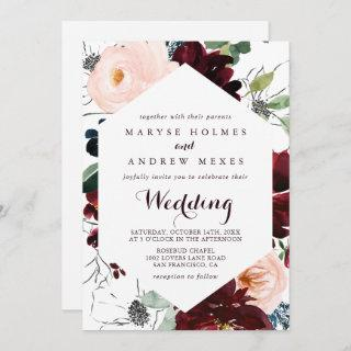 Watercolor Illustrated Fall Front & Back Wedding Invitation