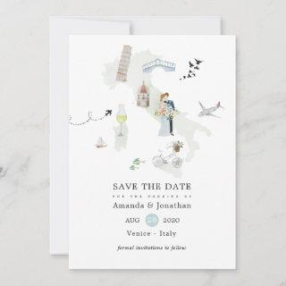 Watercolor Italian Destination Wedding Save The Date