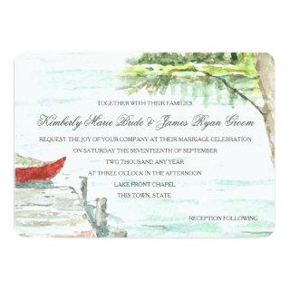 Watercolor Lake and Carved Tree Heart Invitations