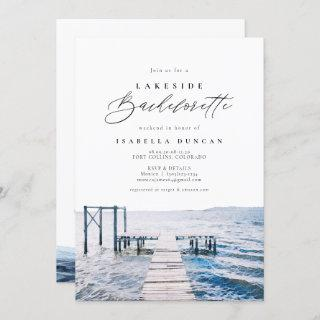 Watercolor Lakeside Bachelorette at the Lake Invitation