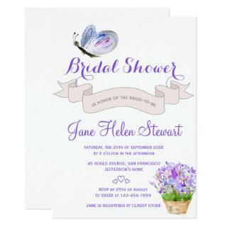 Watercolor lavender butterfly french bridal shower invitation