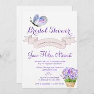 Watercolor lavender butterfly french bridal shower Invitations