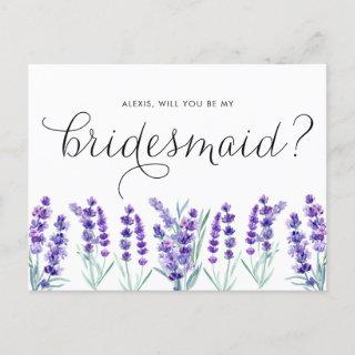 Watercolor Lavender Will You Be My Bridesmaid  Postcard