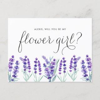 Watercolor Lavender WIll You Be My Flower Girl Invitation Postcard