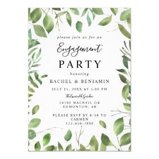 Watercolor Leaves Green Frame Engagement Party Invitation