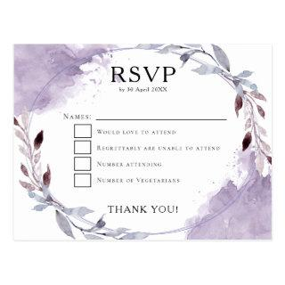 Watercolor Leaves Purple Lilac Gray Wedding RSVP Postcard