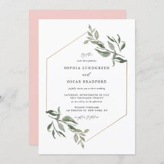 Watercolor Leaves Rose Gold Frame Wedding Invitations