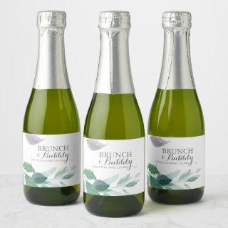Watercolor Leaves Wedding Champagne Label