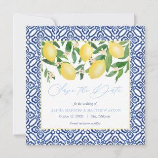Watercolor Lemons With Spanish Tiles Powder Blue Save The Date