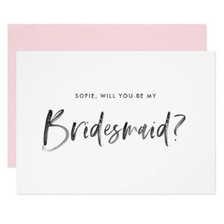 Watercolor Lettering Will You Be My Bridesmaid Invitation