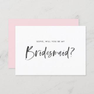 Watercolor Lettering Will You Be My Bridesmaid Invitations