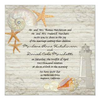 Watercolor Lighthouse Shells Beach Cottage Wedding Invitations