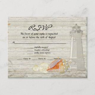 Watercolor Lighthouse Shells Beach Cottage Wedding RSVP Card