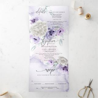 Watercolor Lilac Floral ALL IN ONE WEDDING Tri-Fold