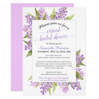 Watercolor Lilacs Floral Virtual Bridal Shower Invitations