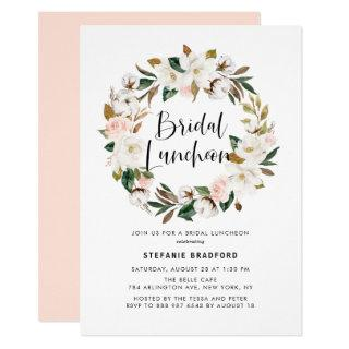 Watercolor Magnolia Cotton Wreath Bridal Luncheon Invitation