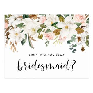 Watercolor Magnolias and Cottons Be My Bridesmaid Postcard